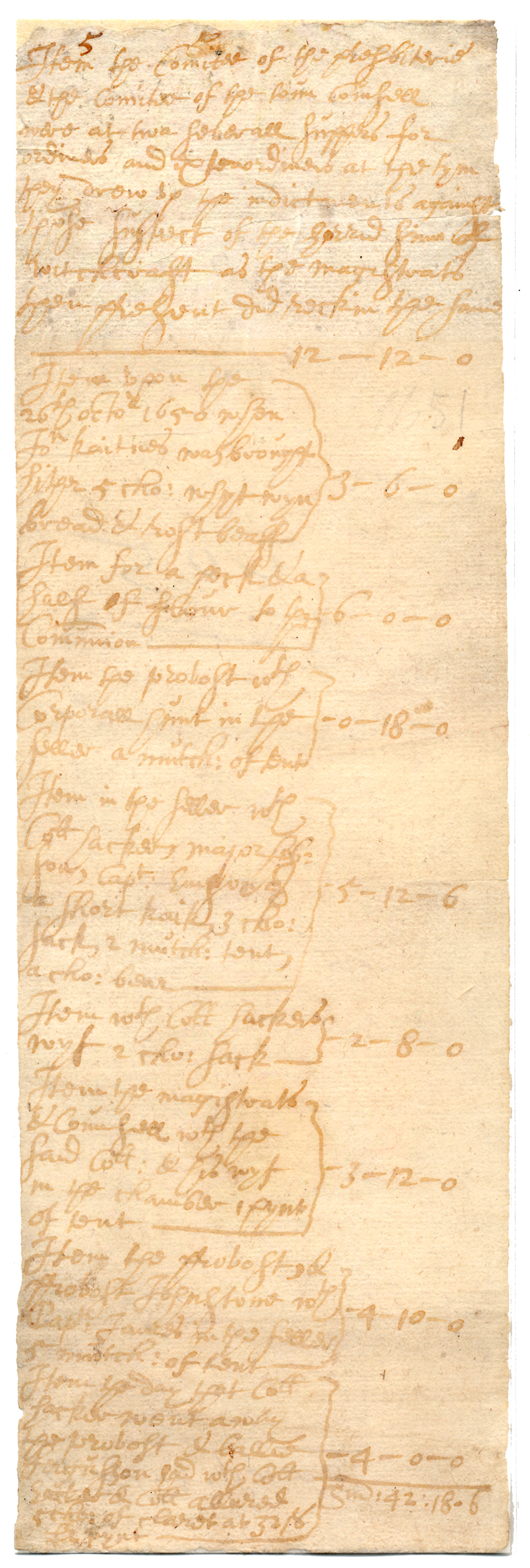 Manuscript Account, 1650